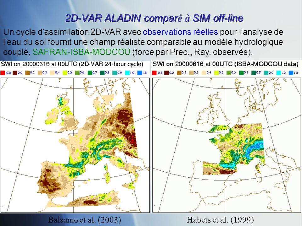 2D-VAR ALADIN compar é à SIM off-line Habets et al. (1999) Un cycle dassimilation 2D-VAR avec observations réelles pour lanalyse de leau du sol fourni