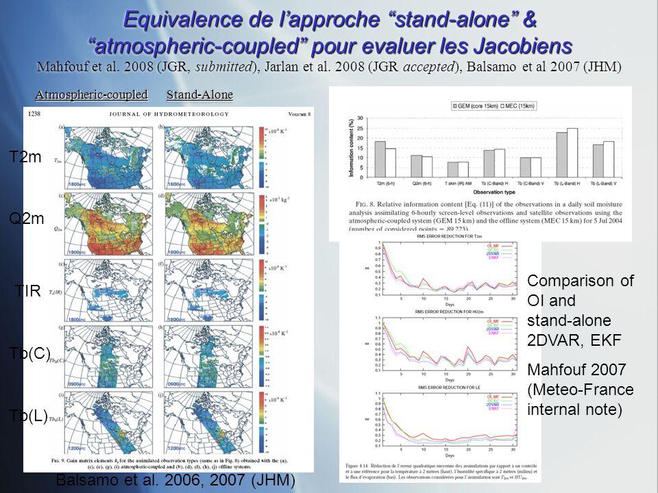 Equivalence de lapproche stand-alone & atmospheric-coupled pour evaluer les Jacobiens Equivalence de lapproche stand-alone & atmospheric-coupled pour