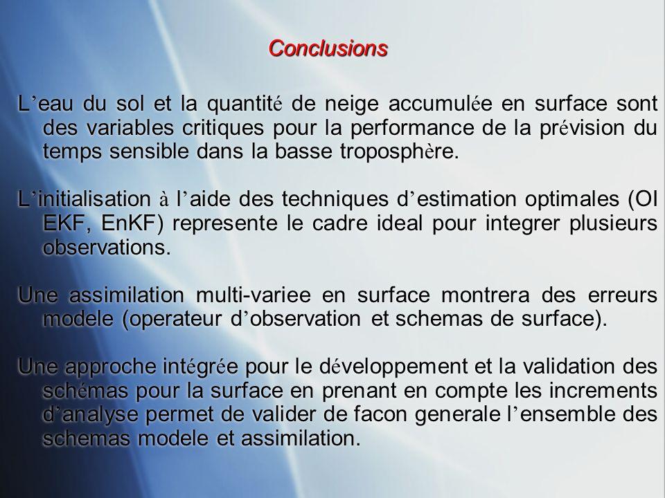 ConclusionsConclusions L eau du sol et la quantit é de neige accumul é e en surface sont des variables critiques pour la performance de la pr é vision