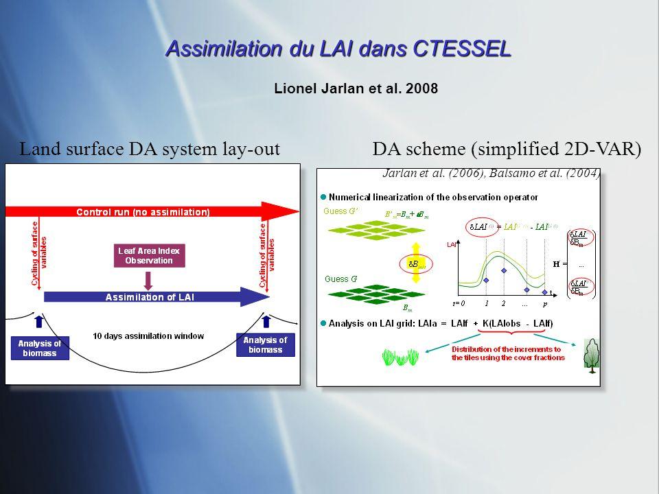 Assimilation du LAI dans CTESSEL Lionel Jarlan et al. 2008 Land surface DA system lay-outDA scheme (simplified 2D-VAR) Jarlan et al. (2006), Balsamo e