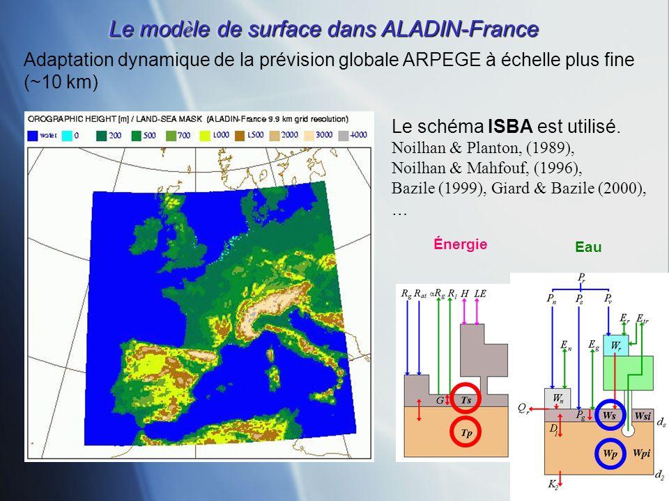 Adaptation dynamique de la prévision globale ARPEGE à échelle plus fine (~10 km) Le mod è le de surface dans ALADIN-France Énergie Eau Le schéma ISBA