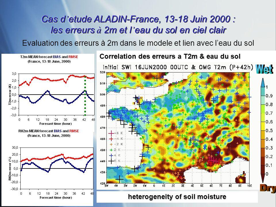 Cas d etude ALADIN-France, 13-18 Juin 2000 : les erreurs à 2m et l eau du sol en ciel clair Correlation des erreurs a T2m & eau du sol Evaluation des