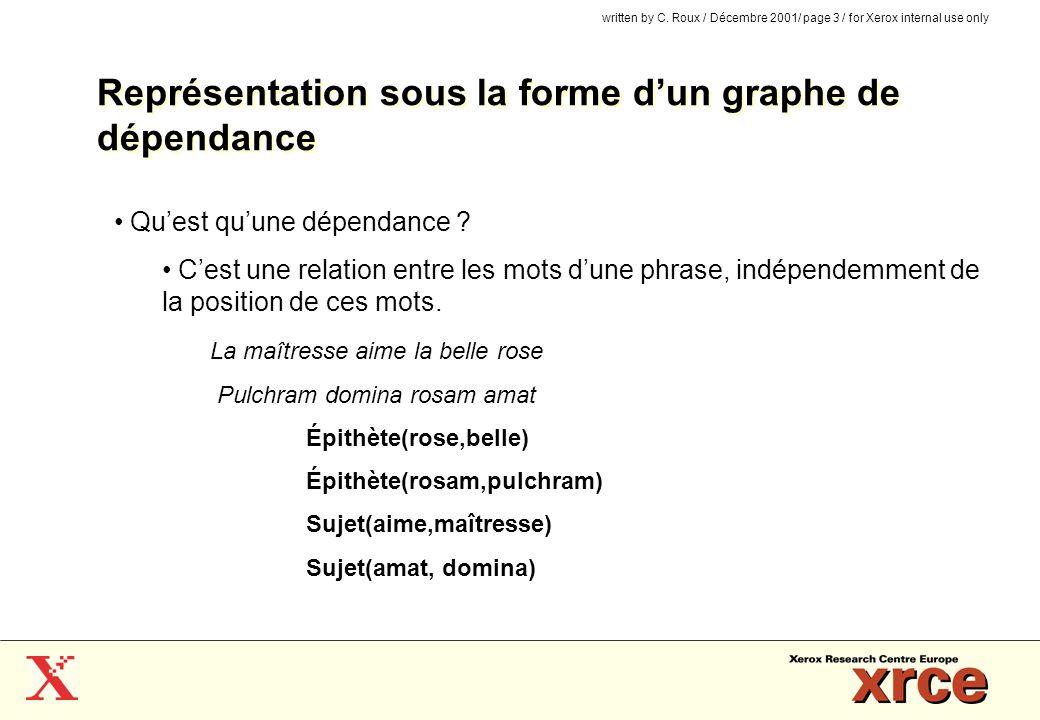written by C. Roux / Décembre 2001/ page 3 / for Xerox internal use only Représentation sous la forme dun graphe de dépendance Quest quune dépendance