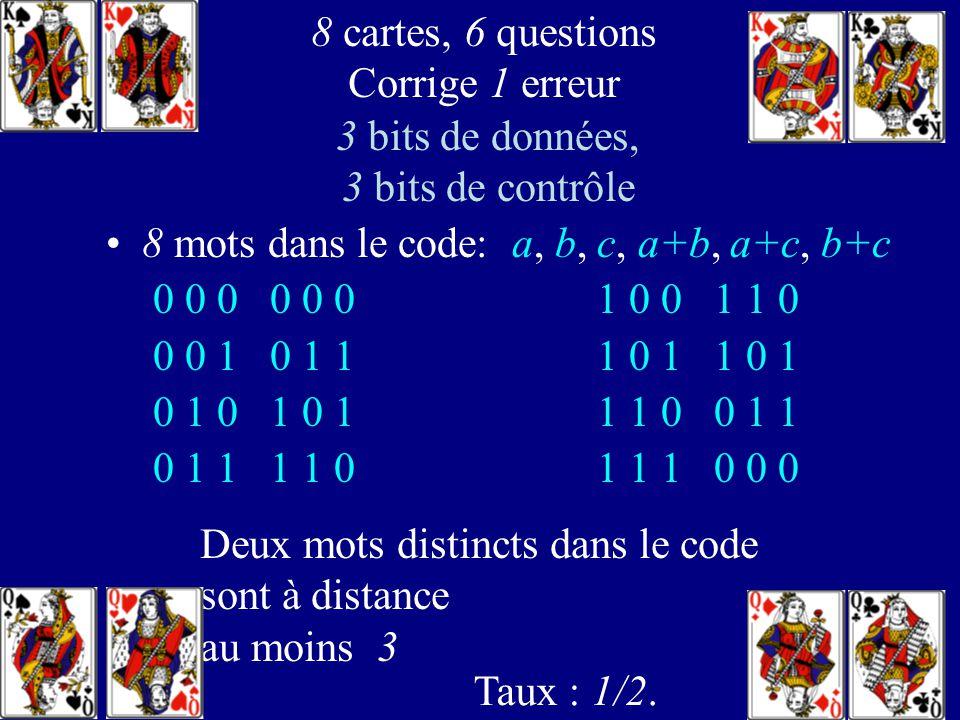 113 8 réponses correctes: a, b, c, a+b, a+c, b+c 8 cartes, 6 questions corrige 1 erreur avec a, b, a+b on sait si a et b sont corrects Si on connaît a