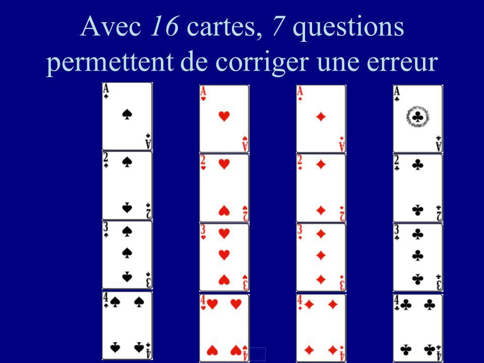 117 Nombre de questions Pas derreurDétecte 1 erreur Corrige 1 erreur 2 cartes123 4 cartes235 8 cartes346 16 cartes457
