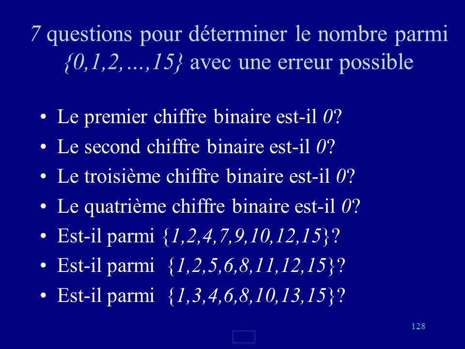 127 On numérote les cartes de 0 à 15, on écrit les numéros en notation binaire 0000, 0001, 0010, 0011 0100, 0101, 0110, 0111 1000, 1001, 1010, 1011 11