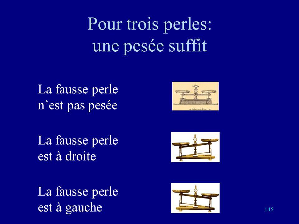 144 Une fausse perle Parmi 9 perles d'apparence semblable, il y en a 8 vraies, identiques, ayant le même poids, et une fausse, qui est plus légère. Vo