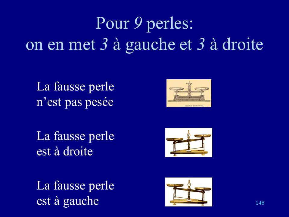 145 Pour trois perles: une pesée suffit La fausse perle nest pas pesée La fausse perle est à droite La fausse perle est à gauche