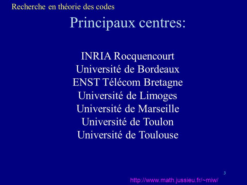 3 Principaux centres: INRIA Rocquencourt Université de Bordeaux ENST Télécom Bretagne Université de Limoges Université de Marseille Université de Toulon Université de Toulouse Recherche en théorie des codes http://www.math.jussieu.fr/~miw/