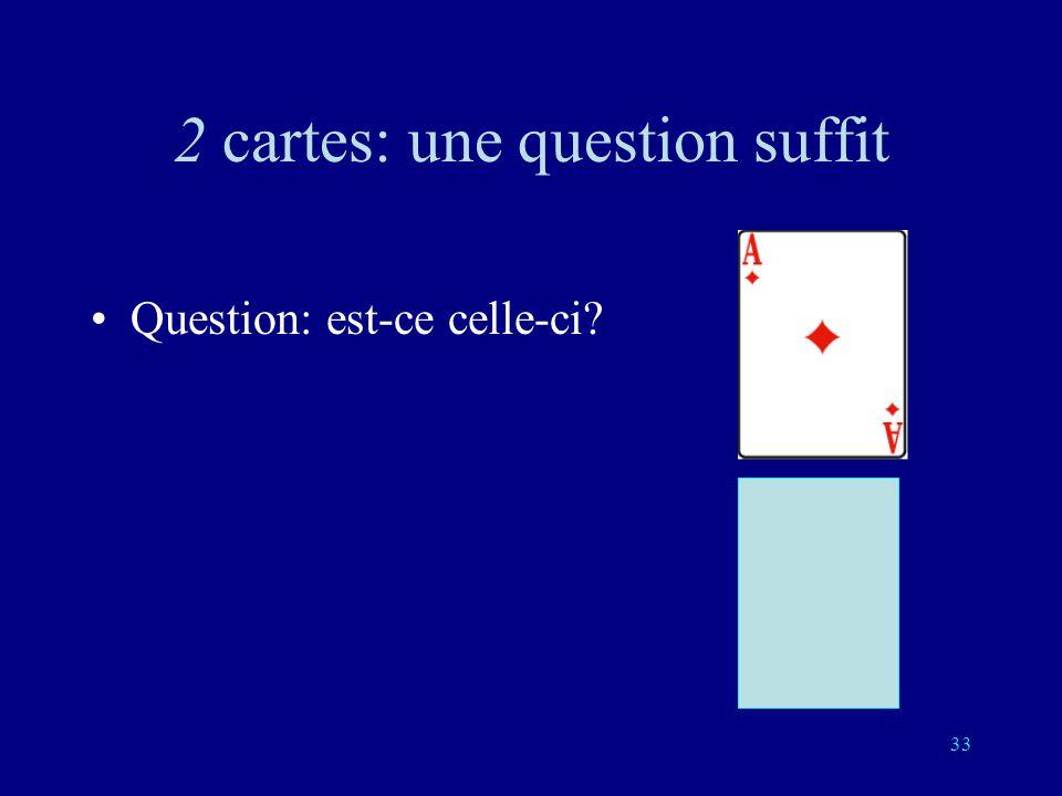 32 2 cartes Vous choisissez une des deux cartes Il me suffit dune question à laquelle vous répondez oui ou non pour la connaître.