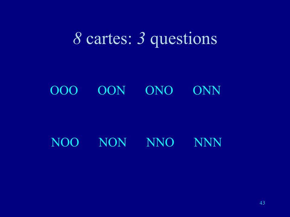 42 Troisième question: est-ce une de ces quatre cartes?