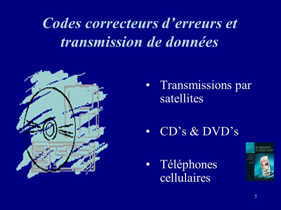 5 Codes correcteurs derreurs et transmission de données Transmissions par satellites CDs & DVDs Téléphones cellulaires