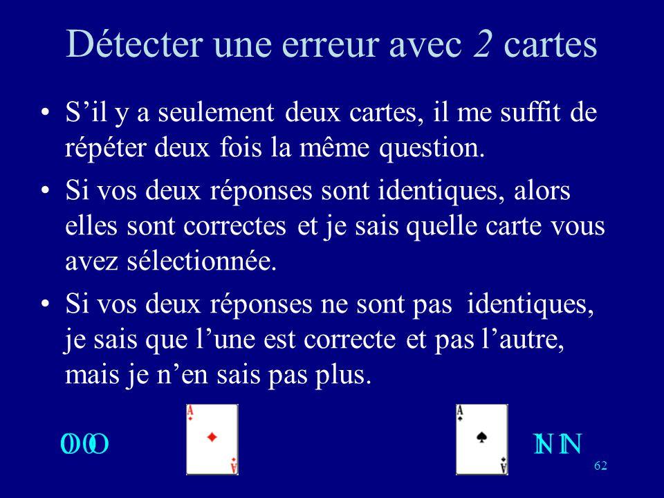 61 Détecter une erreur Il me suffit de poser une question de plus, cela me permet de détecter si une de vos réponse nest pas compatible avec les autre