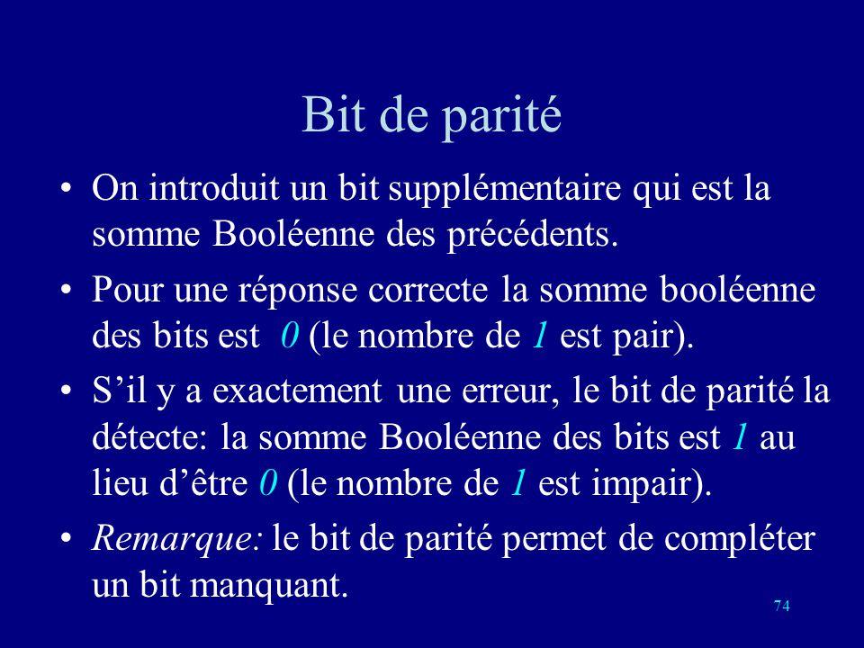 73 Addition Booléenne pair + pair = pair pair + impair = impair impair + pair = impair impair + impair = pair 0 + 0 = 0 0 + 1 = 1 1 + 0 = 1 1 + 1 = 0
