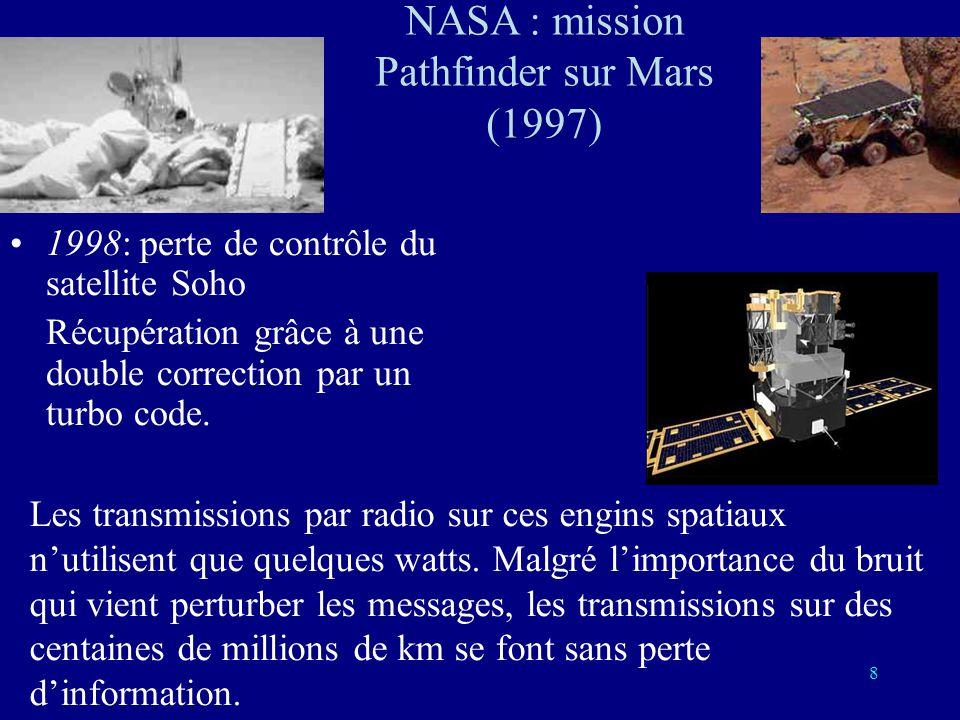 8 1998: perte de contrôle du satellite Soho Récupération grâce à une double correction par un turbo code.