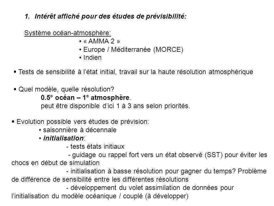 1.Intérêt affiché pour des études de prévisibilité: Système océan-atmosphère: « AMMA 2 » Europe / Méditerranée (MORCE) Indien Tests de sensibilité à l