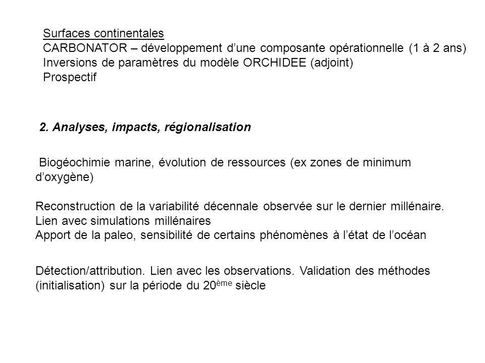 2. Analyses, impacts, régionalisation Biogéochimie marine, évolution de ressources (ex zones de minimum doxygène) Reconstruction de la variabilité déc