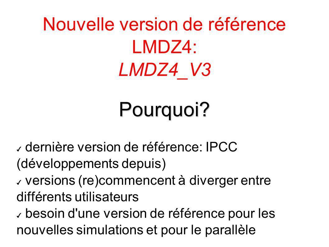 Nouvelle version de référence LMDZ4: LMDZ4_V3 Pourquoi? dernière version de référence: IPCC (développements depuis) versions (re)commencent à diverger
