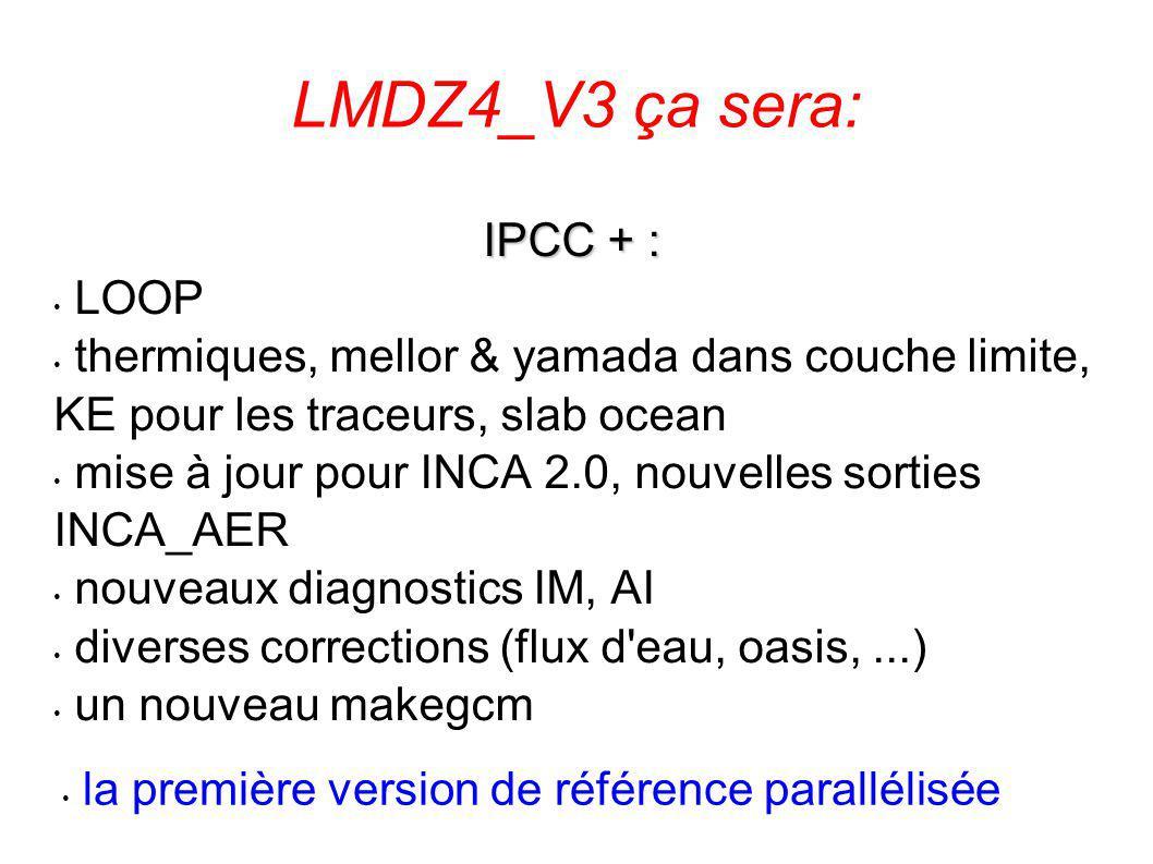 LMDZ4_V3 ça sera: IPCC + : LOOP thermiques, mellor & yamada dans couche limite, KE pour les traceurs, slab ocean mise à jour pour INCA 2.0, nouvelles sorties INCA_AER nouveaux diagnostics IM, AI diverses corrections (flux d eau, oasis,...) un nouveau makegcm la première version de référence parallélisée