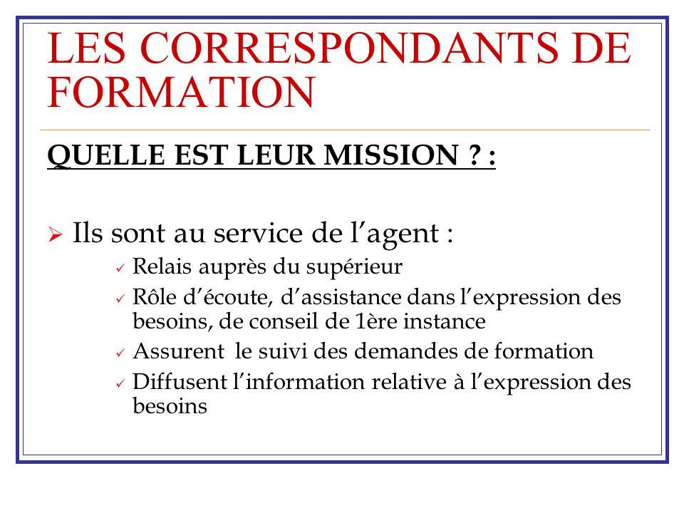 LES CORRESPONDANTS DE FORMATION QUELLE EST LEUR MISSION .