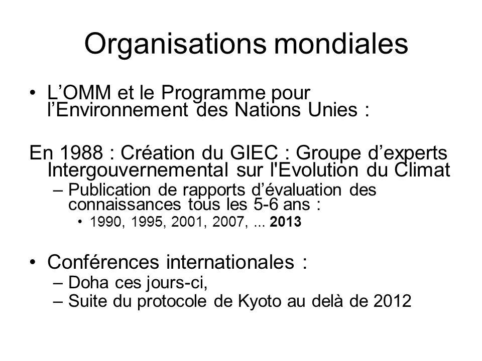 Organisations mondiales LOMM et le Programme pour lEnvironnement des Nations Unies : En 1988 : Création du GIEC : Groupe dexperts Intergouvernemental