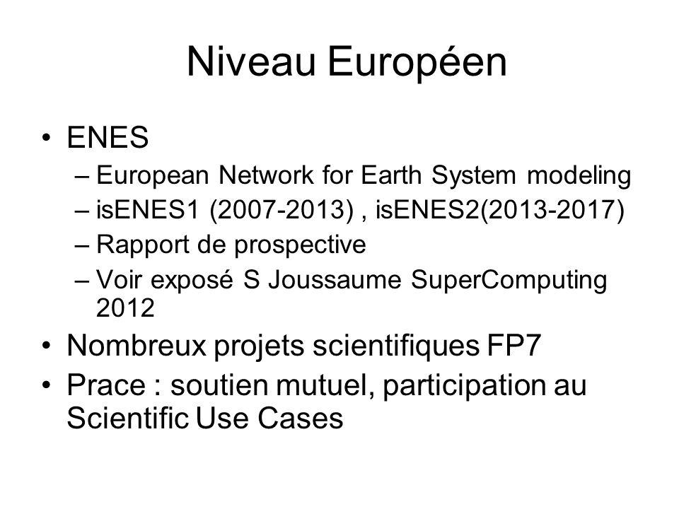 Niveau Européen ENES –European Network for Earth System modeling –isENES1 (2007-2013), isENES2(2013-2017) –Rapport de prospective –Voir exposé S Jouss