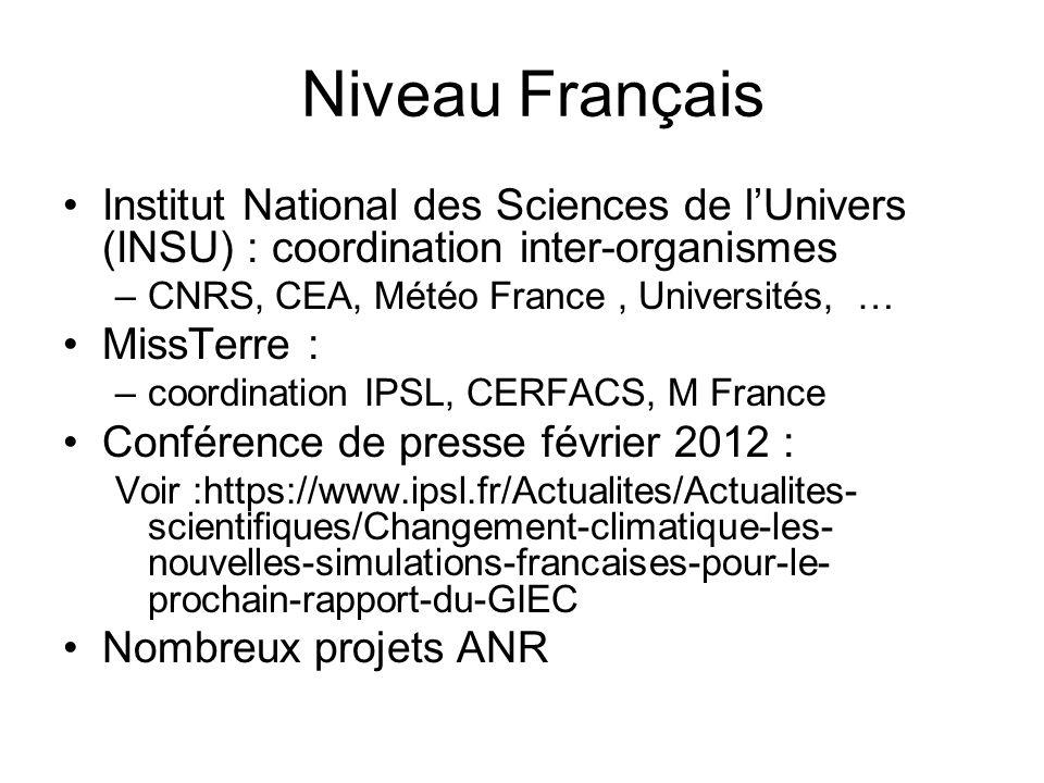 Niveau Français Institut National des Sciences de lUnivers (INSU) : coordination inter-organismes –CNRS, CEA, Météo France, Universités, … MissTerre :