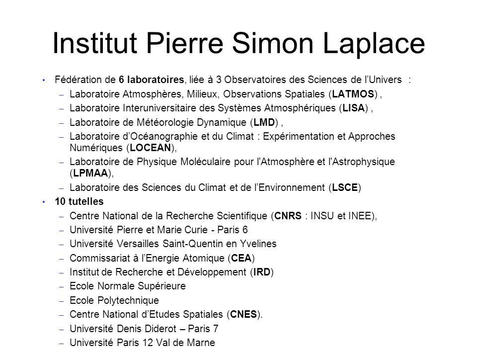 Institut Pierre Simon Laplace Fédération de 6 laboratoires, liée à 3 Observatoires des Sciences de lUnivers : – Laboratoire Atmosphères, Milieux, Obse