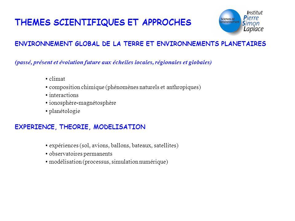 THEMES SCIENTIFIQUES ET APPROCHES ENVIRONNEMENT GLOBAL DE LA TERRE ET ENVIRONNEMENTS PLANETAIRES (passé, présent et évolution future aux échelles loca