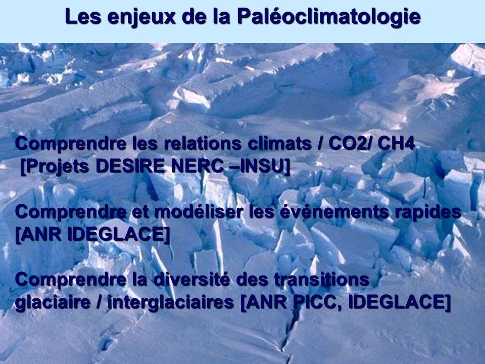 Les enjeux de la Paléoclimatologie Comprendre les relations climats / CO2/ CH4 [Projets DESIRE NERC –INSU] [Projets DESIRE NERC –INSU] Comprendre et m
