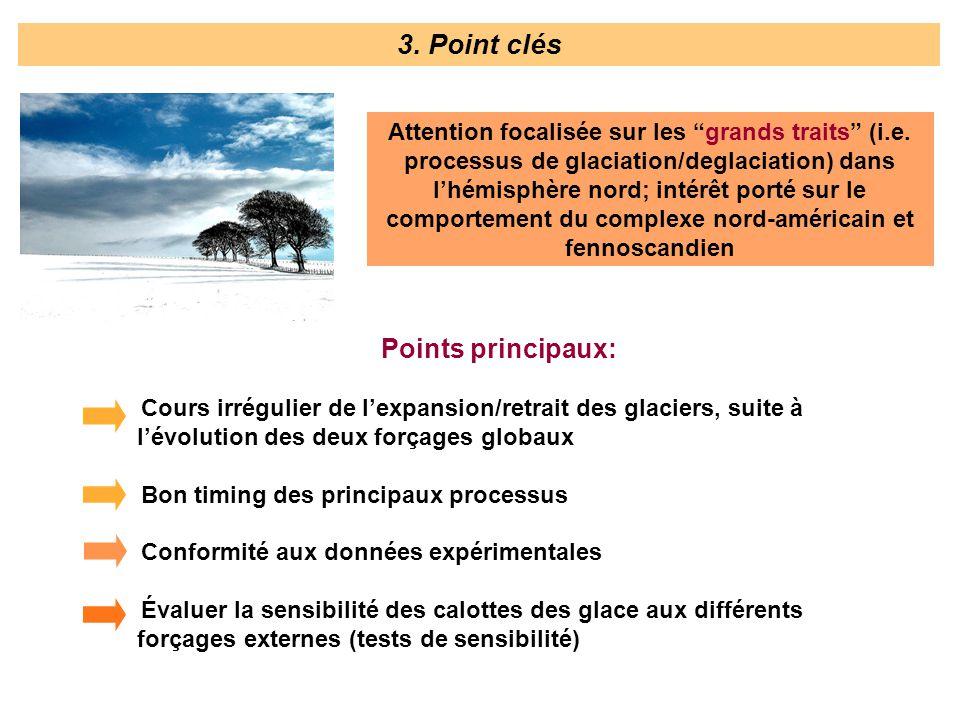 Points principaux: Cours irrégulier de lexpansion/retrait des glaciers, suite à lévolution des deux forçages globaux Bon timing des principaux process
