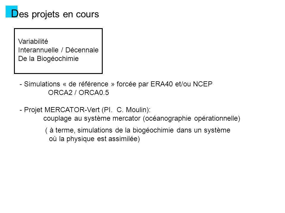 D es projets en cours Climat et Biogéochimie Marine Pré-requis : couplage de PISCES à IPSL-CM4 IPSL-CM4-LOOP (Cadule et al.) 1.Evaluation du modèle : variabilité interannuelle de la productivité marine (Schneider et al.