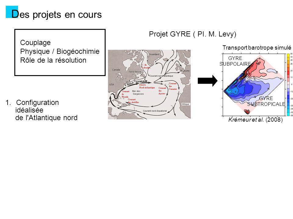 GYRE SUBTROPICALE GYRE SUBPOLAIRE Transport barotrope simulé Krémeur et al.