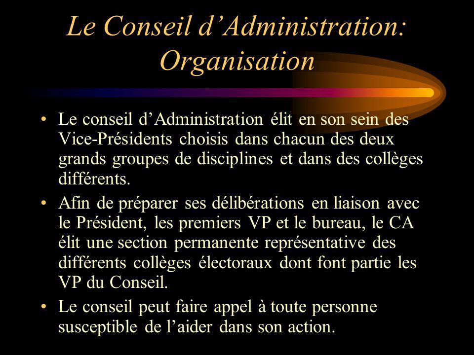 Le Conseil dAdministration: Organisation Le conseil dAdministration élit en son sein des Vice-Présidents choisis dans chacun des deux grands groupes d