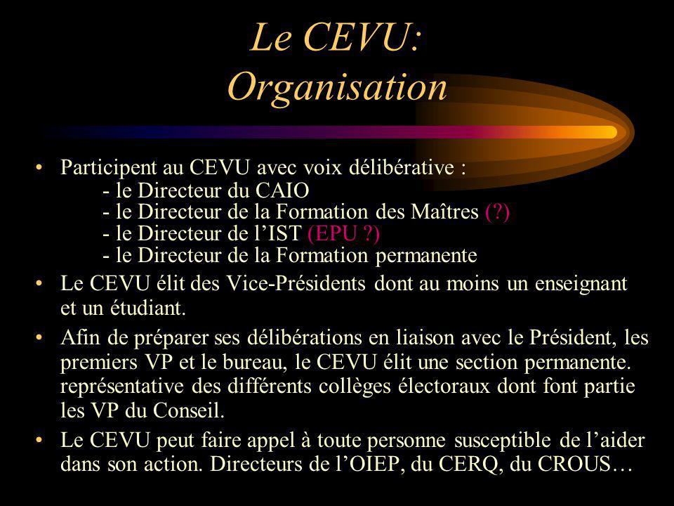 Le CEVU: Organisation Participent au CEVU avec voix délibérative : - le Directeur du CAIO - le Directeur de la Formation des Maîtres (?) - le Directeu