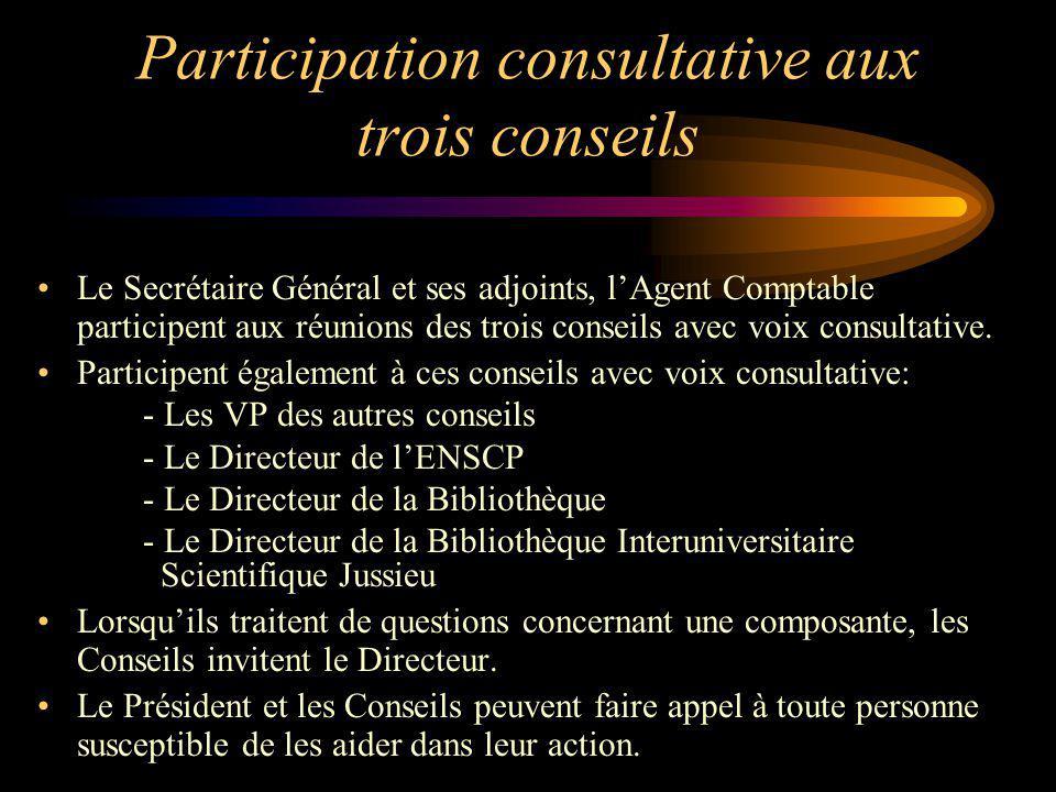 Participation consultative aux trois conseils Le Secrétaire Général et ses adjoints, lAgent Comptable participent aux réunions des trois conseils avec