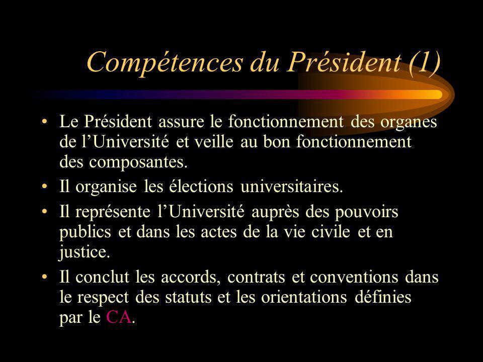 Compétences du Président (1) Le Président assure le fonctionnement des organes de lUniversité et veille au bon fonctionnement des composantes. Il orga