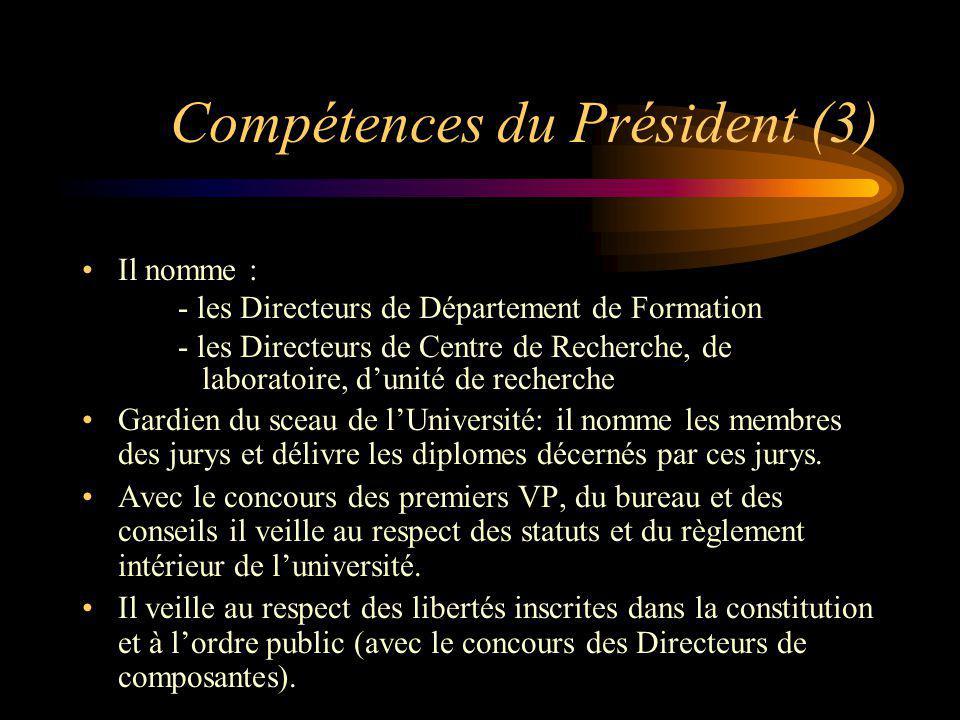 Compétences du Président (3) Il nomme : - les Directeurs de Département de Formation - les Directeurs de Centre de Recherche, de laboratoire, dunité d