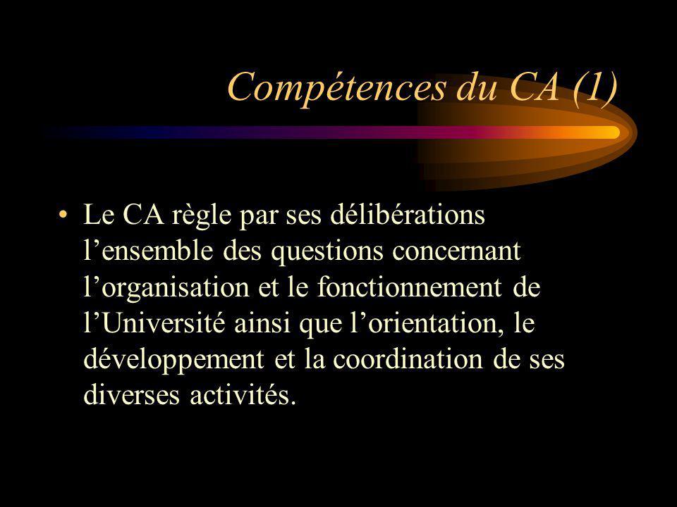 Compétences du CA (1) Le CA règle par ses délibérations lensemble des questions concernant lorganisation et le fonctionnement de lUniversité ainsi que