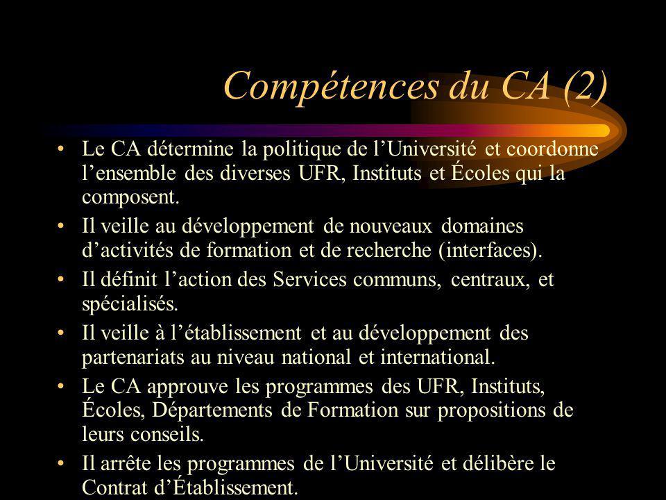 Compétences du CA (2) Le CA détermine la politique de lUniversité et coordonne lensemble des diverses UFR, Instituts et Écoles qui la composent. Il ve