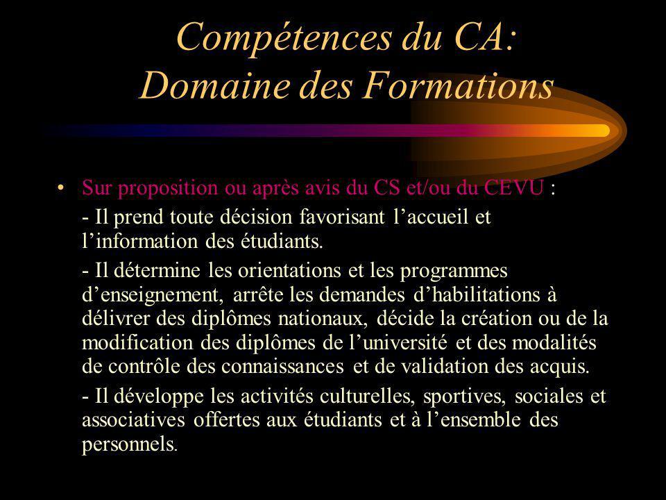 Compétences du CA: Domaine des Formations Sur proposition ou après avis du CS et/ou du CEVU : - Il prend toute décision favorisant laccueil et linform