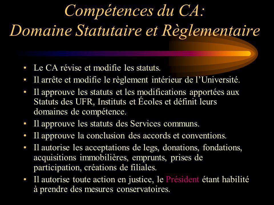 Compétences du CA: Domaine Statutaire et Règlementaire Le CA révise et modifie les statuts. Il arrête et modifie le règlement intérieur de lUniversité