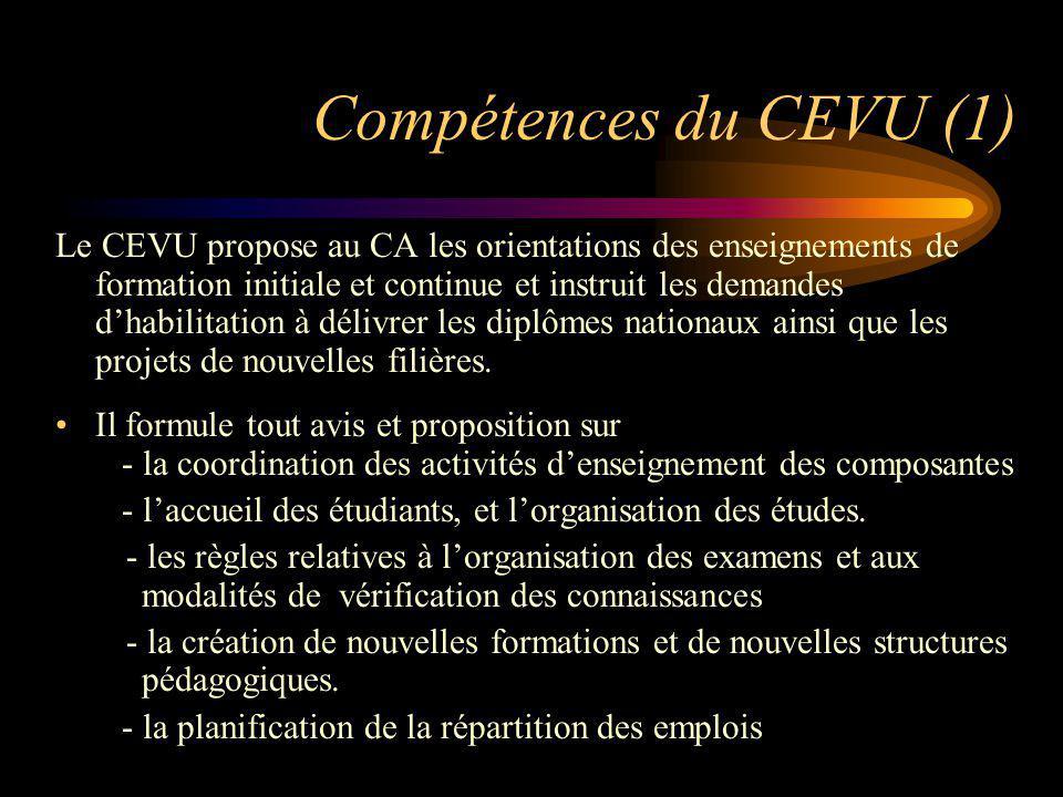 Compétences du CEVU (1) Le CEVU propose au CA les orientations des enseignements de formation initiale et continue et instruit les demandes dhabilitat