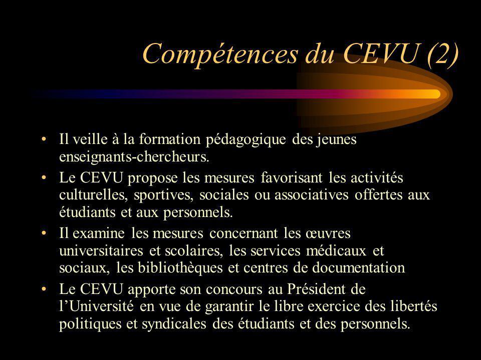 Compétences du CEVU (2) Il veille à la formation pédagogique des jeunes enseignants-chercheurs. Le CEVU propose les mesures favorisant les activités c