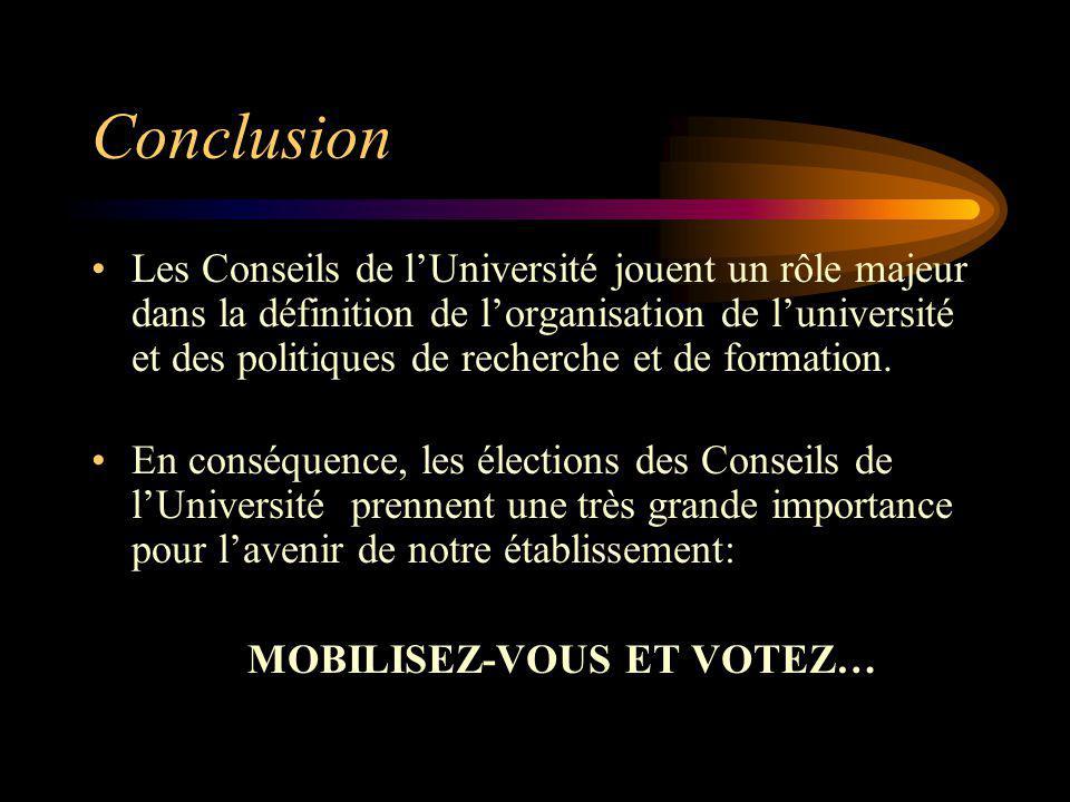 Conclusion Les Conseils de lUniversité jouent un rôle majeur dans la définition de lorganisation de luniversité et des politiques de recherche et de f