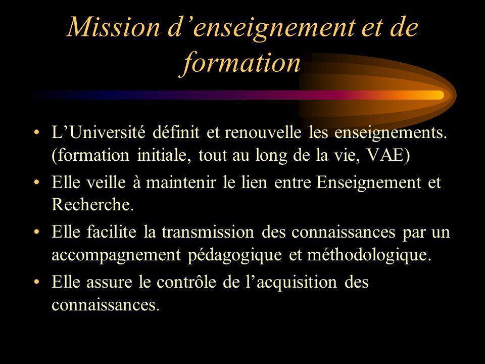 Mission denseignement et de formation LUniversité définit et renouvelle les enseignements. (formation initiale, tout au long de la vie, VAE) Elle veil