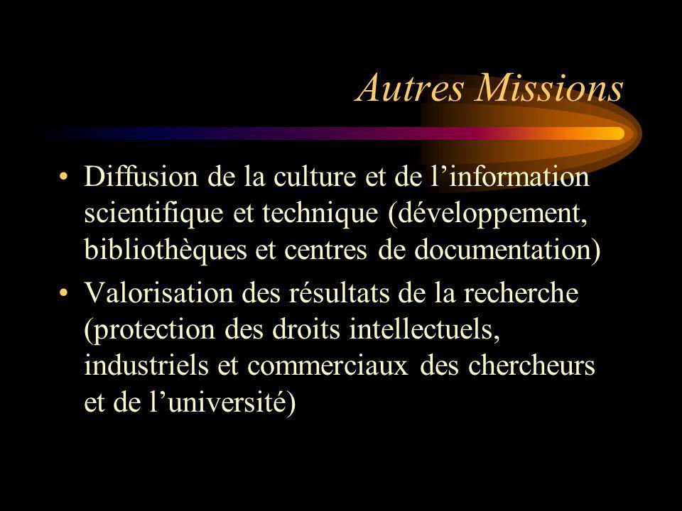 Autres Missions Diffusion de la culture et de linformation scientifique et technique (développement, bibliothèques et centres de documentation) Valori