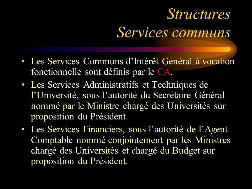 Structures Services communs Les Services Communs dIntérêt Général à vocation fonctionnelle sont définis par le CA. Les Services Administratifs et Tech