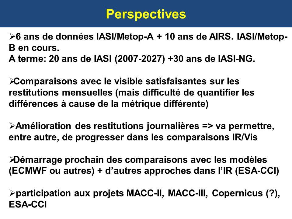 Perspectives 6 ans de données IASI/Metop-A + 10 ans de AIRS. IASI/Metop- B en cours. A terme: 20 ans de IASI (2007-2027) +30 ans de IASI-NG. Comparais