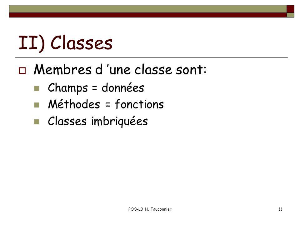 POO-L3 H. Fauconnier11 II) Classes Membres d une classe sont: Champs = données Méthodes = fonctions Classes imbriquées